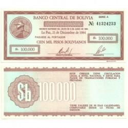(188) Bolivia. 1984. 100000 Pesos Bolivianos (SC)