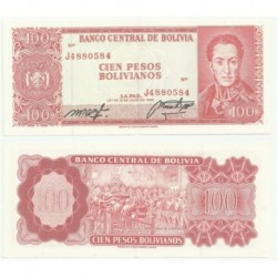 (163) Bolivia. 1962. 100 Pesos Bolivianos (EBC)