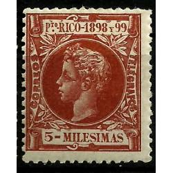 Puerto Rico. 1898/99. 5 Milésimas