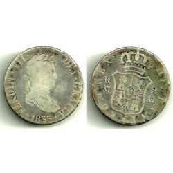 Fernando VII. 1833. 2 Reales (BC-) (Plata) Ceca de Madrid AJ