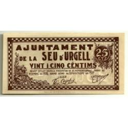 Seu d'Urgell [1937] Billete de 25 Cèntims (SC)