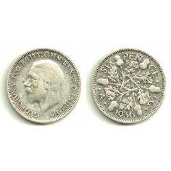 (832) Gran Bretaña. 1936. 6 Pence (BC) (Plata)