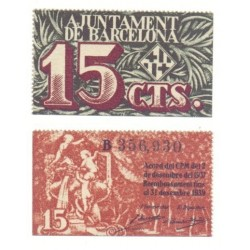 Barcelona [1939] Billete de 15 Cèntims (SC)