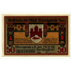 Alemania. Wernigerode. 1920. 50 Pfennig (SC)