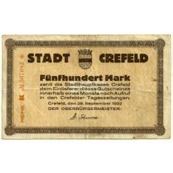Alemania. Crefeld. 1922. 500 Mark (MBC)