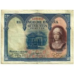 [1927] Billete de 500 Pesetas (BC+). Sin Serie