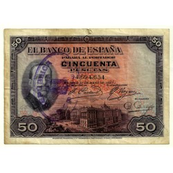 [1927] Billete de 50 Pesetas (BC). Con Sello República. Rotura