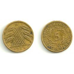 (39) Imperio Alemán (WEIMAR). 1924(A). 5 Pfennig (MBC)