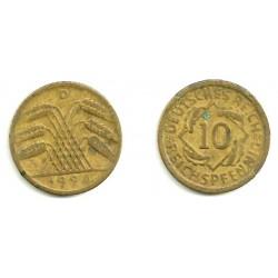 (40) Imperio Alemán (WEIMAR). 1924(D). 10 Pfennig (MBC)