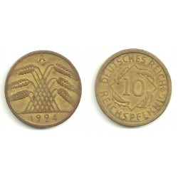 (40) Imperio Alemán (WEIMAR). 1924(A). 10 Pfennig (MBC)