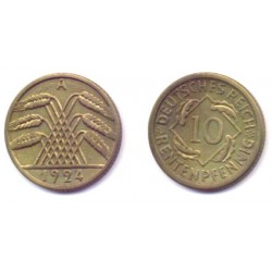 (40) Imperio Alemán (WEIMAR). 1924(A). 10 Pfennig (EBC+)