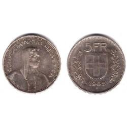 (40) Suiza. 1965(B). 5 Francs (MBC) (Plata)