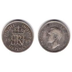 (852) Gran Bretaña. 1939. 6 Pence (MBC) (Plata)