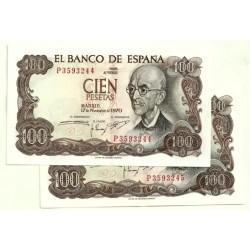 [1970] Billete de 100 Pesetas (EBC+) Serie P. Pareja correlativa