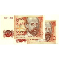 [1980] Billete de 200 Pesetas (SC) Serie J. Pareja correlativa