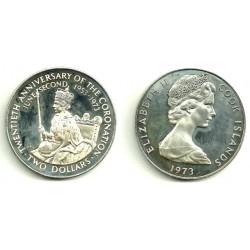 (8) Islas Cook. 1973. 2 Dollars (SC) (Plata)