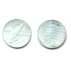 (54) Andorra. 1989. 20 Diners (Proof) (Plata)