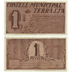 Terrassa [1937] Billete de 1 Pesetas (MBC)