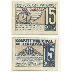 Terrassa [1937] Billete de 15 Céntimos (MBC)