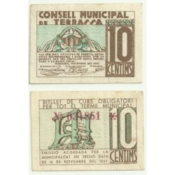 Terrassa [1937] Billete de 10 Céntimos (MBC)