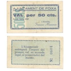 Foixà [1937] Billete de 50 Cèntims (MBC)