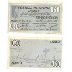 Olot [1937] Billete de 50 Cèntims (SC)
