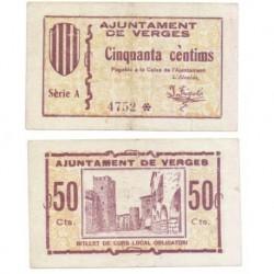 Verges [1937] Billete de 50 Cèntims (MBC)