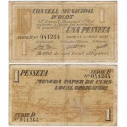 Olot [1937] Billete de 1 Peseta (MBC)