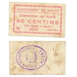 Malda [1937] Billete de 50 Cèntims (EBC)