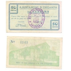 Organyà [1937] Billete de 50 Cèntims (MBC)