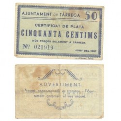 Tàrrega [1937] Billete de 50 Cèntims (MBC)