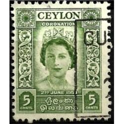 Ceylon Británica. 1953. 5 Cents. Coronation