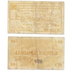 Alforja [1937] Billete de 25 Cèntims (BC)