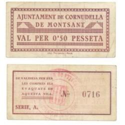 Cornudella de Montsant [1937] Billete de 50 Cèntims (EBC)