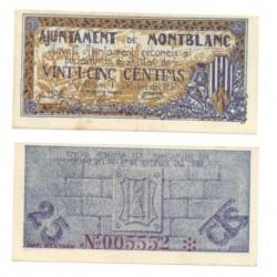 Montblanc [1937] Billete de 25 Cèntims (EBC)