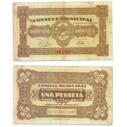 Espluga de Francolí [1937] Billete de 1 Peseta (MBC)
