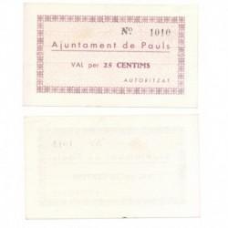 Pauls [1937] Billete de 25 Cèntims (SC)