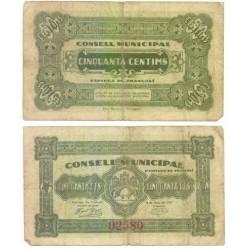 Espluga de Francolí [1937] Billete de 50 Cèntims (RC)