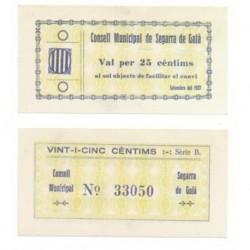 Segarra de Gaià [1937] Billete de 25 Cèntims (SC)