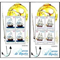 (3415 Y 3416) 1996. 4x 30 Pesetas y 4x 60 Pesetas. 2 Hojitas. Barcos de Época