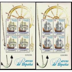 (3352 Y 3353) 1995. 4x 19, 4x 30 Pesetas. 2 Hojitas. Barcos de Época