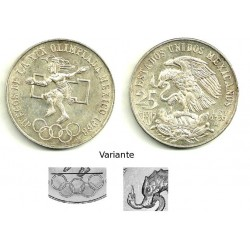 (479.3) Estados Unidos Mexicanos. 1968. 25 Pesos (SC) (Plata) Variante