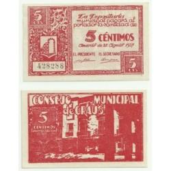 Graus [1937] Billete de 5 Céntimos (SC)