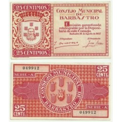 Barbastro [1937] Billete de 25 Céntimos (SC)