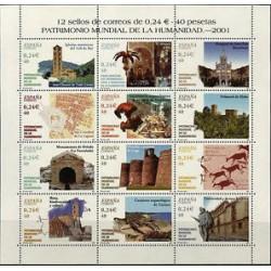 (3843 a 3854) 2001. 40 Pesetas. Minipliego de 12 sellos. Patrimonio Mundial de la Humanidad