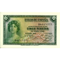 [1935] Billete de 5 Pesetas (SC) Serie D