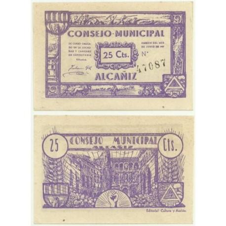 Alcañiz [1937] Billete de 25 Céntimos (SC)