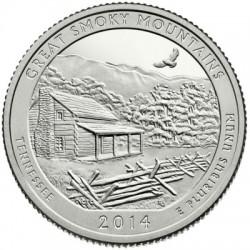 Estados Unidos de América. 2014(P). Quarter Dollar (SC) Great Smoky Mountains