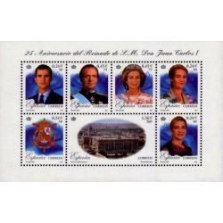 (3856) 2001. 4x 40, 2x 75,x 260 Pesetas. 25º Aniv. Reinado S.M. Don Juan Carlos I