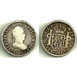 Fernando VII. 1820. 2 Reales (BC+) (Plata) Ceca de Lima JP